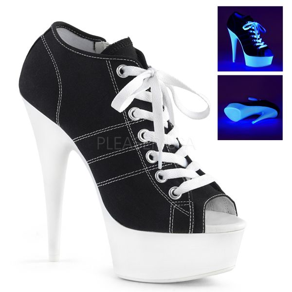 Schwarze Canvas High Heel Peep Toe Sneaker DELIGHT-600SK-01